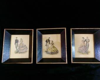 Trio of Vintage Framed Stan David Mazurka Prints Dancing Couples 19th Century Fashion Dress