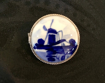 Sterling Silver Vintage Delft Blue Brooch/Pin Collectible  from the Netherlands
