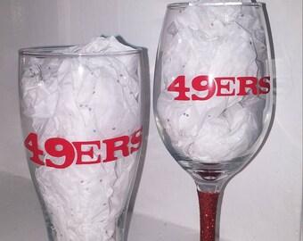 49ers Pilsner mug and wine glass