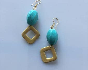 natural turquoise stones 23 brass pendulum earring