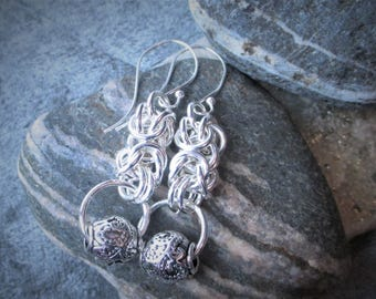 Sterling Silver Byzantine with large silver bead