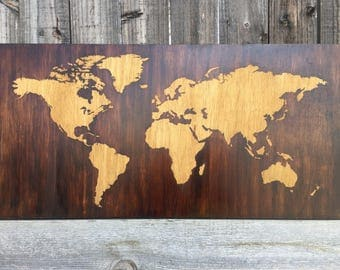 World Map Wood Wall Art wood world map | etsy