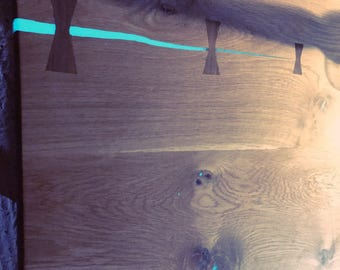 Live edge oak coffee table glow in the dark