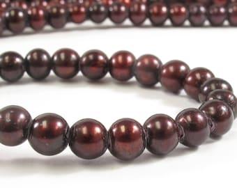 6-7 mm Large Hole Burgundy Potato Freshwater Pearl Beads 1.8 mm Hole, Large Hole Pearls, Large Hole Cranberry Cultured Bead(185-LHPB0607)