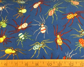 Colorful bugs/spiders cotton fabric by the yard