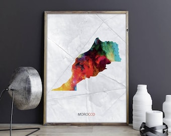 Morocco Art Morocco Wall Art Morocco Wall Decor Morocco Photo Morocco Print Morocco Poster Morocco Map Country Map Watercolor Map Unframed