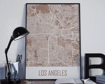 Los Angeles Map Los Angeles City Map Los Angeles Wall Art Los Angeles Poster Los Angeles Print Los Angeles Photo City Map Street Map