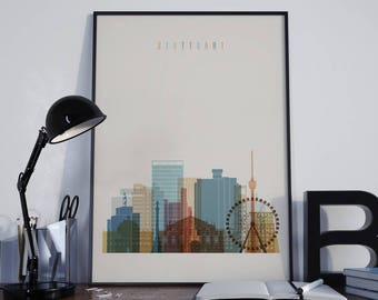 Stuttgart Art Stuttgart Watercolor Stuttgart Multicolor Stuttgart Wall Art Stuttgart Wall Decor Stuttgart Home Decor Stuttgart Skyline
