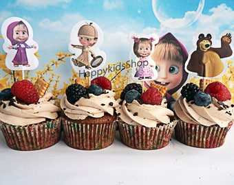 24+24 psc Masha and the Bear party cake cupcake topper + tartlets Masha and the Bear for Holiday Topper birthday party favors supplies