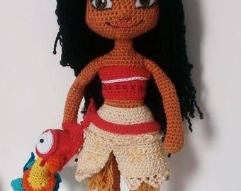 MOANA AMIGURUMI. Woven doll Moana and HEi Hei
