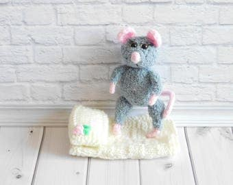 Mouse plush toy mouse knitted animal mouse Amigurumi  toy Plush Nursery Decor toy mouse figurine crochet toy handmade mouse doll cute plushy