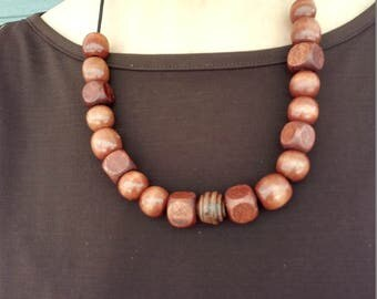 """Hand Made Chunky Wood Necklace 16"""" to 18"""" On Black 2mm Stretch Cord"""