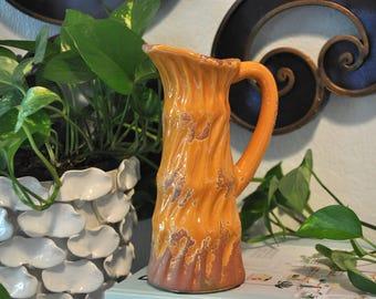 Vintage Orange and Brown Ceramic Pitcher, Boho Vase // SALE