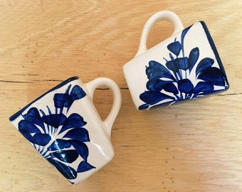 Pair of Vintage Ceramic Blue + White Coffee Mugs, Made in Mexico