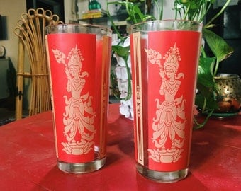 Vintage 1960s Asian Modern Siam Red Gold Goddess Tumblers, Buddha Water Glasses