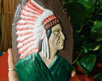 Native American Man Chalkware Decor, Man in Headdress, Vintage Decor