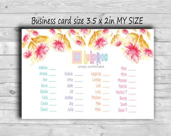 LLRoe Business card size 3.5 x 2 in MY SIZE Instant Download Home Office Approved Colors and Font - Red Flora