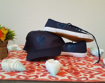 Sneakers blue with knitted hearts size 39