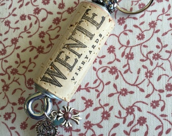 Wente vineyard wine cork keychain, wine lovers, keychain