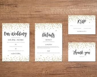 Gold Confetti Printable Wedding Invitation