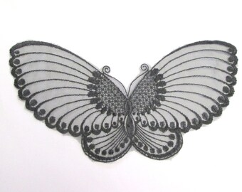 Black embroidered organza butterfly applique large black butterfly craft supply clothing trim goth fashion trim