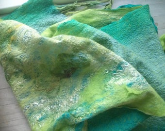 Two-sided aqua-color scarf. Nuno Felted Scarf. Women's Accessories