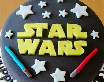 Star Wars fondant logo, 2 lightsabers, lots of stars, edible cake topper decorations