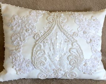 Silk & Lace embellished Damask Pattern Accent Pillow shabby chic, cottage chic, Romantic