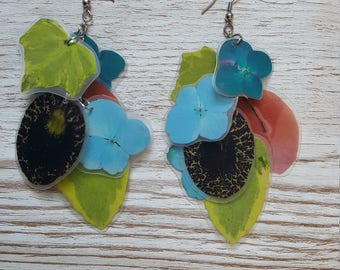 handmade recycled flowers earrings