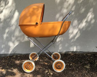 vintage orange plastic pram doll stroller baby stroller plastic dolls baby carriage 1970