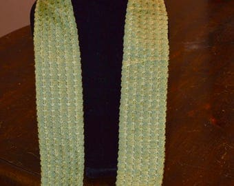 Handwoven rayon scarf - 40 in x 2.5 in tag
