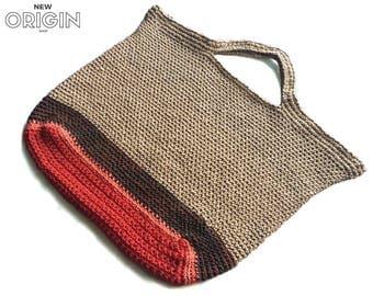 Crochet Market Bag// Carry all//Purse// Handbag// Handmade Tote-Jute multi color