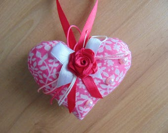 fabric heart, textile heart, embroidered heart, Valentine's day, hearts decoration, interior decor, soft heart