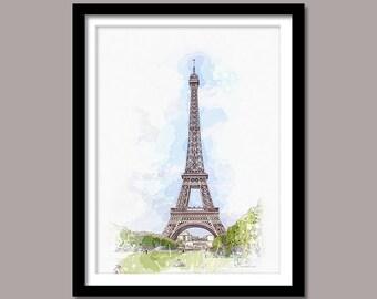 Eiffel Tower Print, Eiffel Tower Digital Print, Eiffel Wall Art, Landmark Printable Art, Eiffel Digital Download, Watercolor Painting, Paris