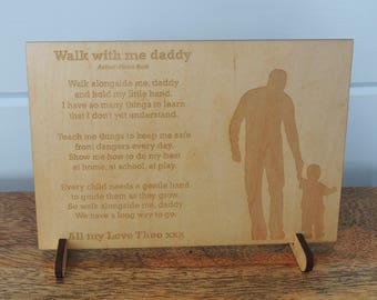 Laser engraved walk with me daddy wooden plaque and stand - little boy design