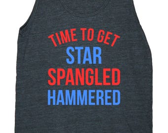 Time To Get Star Spangled Hammered Men's American Apparel Tank Top