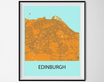 Edinburgh Map Poster Print - Orange and Blue