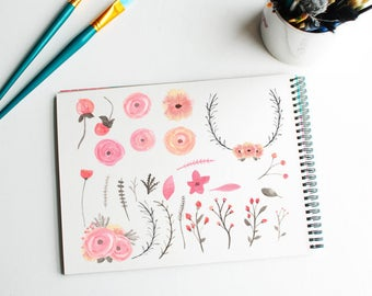 Commercial use watercolour clipart set - pink floral painted clip art - card making and scrap booking florals