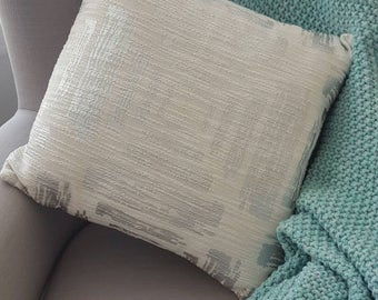 White decorative Throw Pillow Cover with  geometric silver design