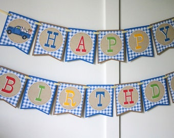 Little Blue Truck Birthday Banner - Little Blue Truck Birthday Decorations Fully Assembled - Little Blue Truck Farm Birthday Party Banner