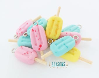 Colorful Popsicle Clay Charm (2/4/6 pcs) - Jewelry Supply - Miniature Food - Food Jewelry - Planner Charm - Gift for Her - Stitch Marker