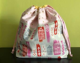 Handmade drawstring bag / pouch for knitting crochet project 26 x 21 x 7.5 cm *Victorian 2*