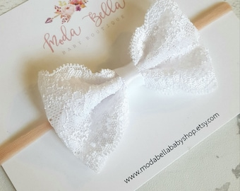 Baby Headband, Baby Bows, Bows, Hair Bows, Hair Accessories, Newborn Headband, Infant Headbands, Baby Girl Headbands, Lace Bow
