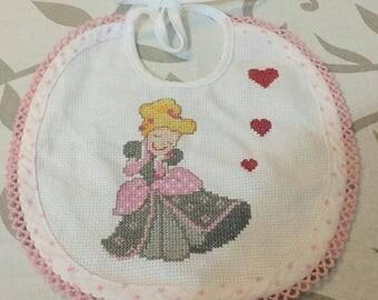 Bib cross stitch Princess. Baby bibs cross stitch