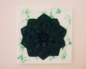 Felt Flower Canvas - Green Marble