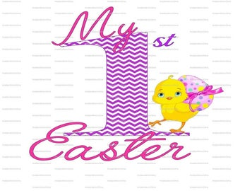 My 1st Easter, First, INSTANT Download, Printable Iron On Transfer, PNG, JPEG, Digital, Diy, Pink, Blue, Dots, Chevron, T shirt, Onesie
