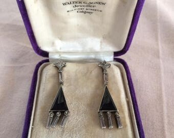 Vintage Onyx and Marcasite earrings
