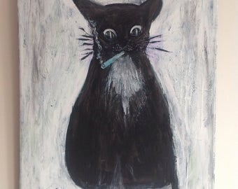 Canabis cat by Gwen Senior. Black and white cat smoking canabis.