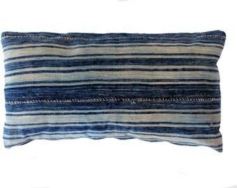 "Vintage 12"" x 22"" Indigo-Striped Mud Cloth Lumbar Pillow"