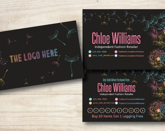 Chalkboard Dandelion Business Card//LulaRoe Business Card//Punch Card
